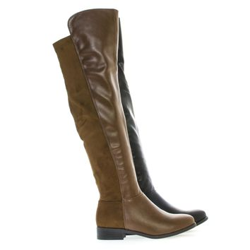 Kansas14 Over The Knee Round Toe Dual Fabric Zip Up Riding Boots