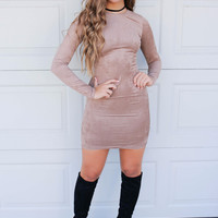 Here to Stay Taupe Mini Dress