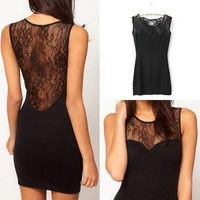 Lady Sexy Lace Sleeveless Bodycon Evening Party Cocktail Mini Dress Clubwear