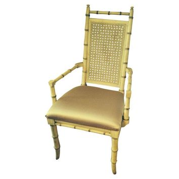 Pre-owned Hollywood Regency Bamboo Dining Chairs - Set of 8