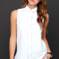 Button-Up Your Chances Ivory Sleeveless Button-Up Top