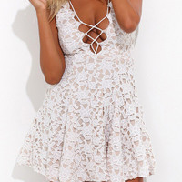 White Deep V Neck Hollow Lace Dress