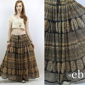 Vintage 90s Cotton Gauze Indian Skirt XL 1X Festival Skirt Hippie Skirt Hippy Skirt Maxi Skirt India Skirt Plus Size Skirt Plus Size Vintage