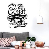 Wall Stickers Vinyl Decal Serf Serfing West Coast Riding The Waves Ocean (z1892)
