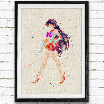 Sailor Mars Watercolor Art Print, Sailor Moon Room Wall Poster, Home Decor, Not Framed, Buy 2 Get 1 Free!