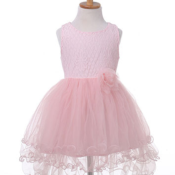 Lace Flower Girl Dress Kid Party Bridesmaid Tutu Dresses Ball Gown Formal Dress