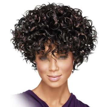 African Short Curled Hair Wig Cap