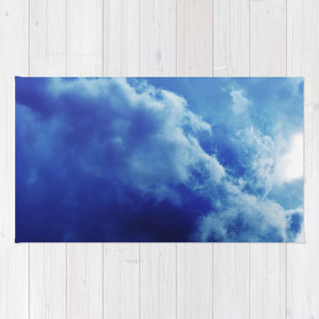 Indigo Sky 2 - Beach Towel, Boho Chic Large Sized Blue Storm Cloud Beach Blanket Throw, Summer Essential Toting Accessory. In 36x72 Inches