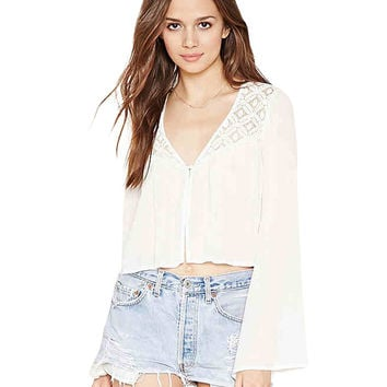 Cropped Chiffon Blouse in White