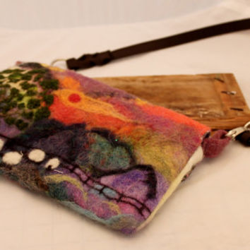 Purse, Wet Felted & Needle Felted Sheep ART  Purse