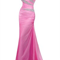 Mic Dresses Women's One Shoulder Rhinestone Long Bridesmaid Evening Party Prom Dress