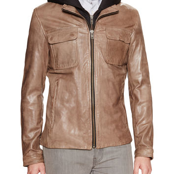 Soia & Kyo Men's Smith Hooded Leather Jacket - Beige/Khaki -