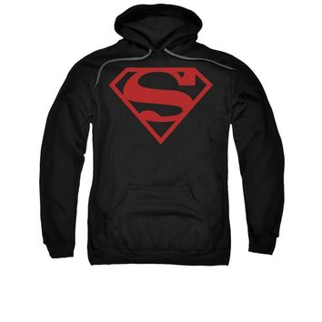 Superman Red On Black Shield Symbol Licensed Adult Pullover Hoodie