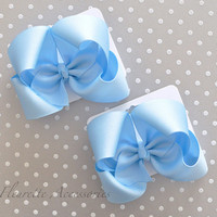 Basic boutique bows, Blue basic bows, Boutique hair bow, Baby hair bows, Hair bows for girls, Stocking stuffer, Gift idea, Blue hair bow