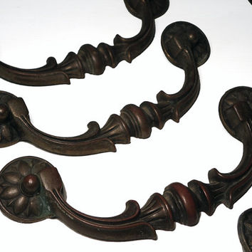 6 Vintage French Provincial Drawer Pulls