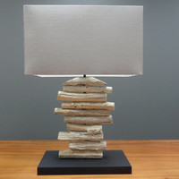 Wood Table Lamp made from Tree Branches with Taupe Fabric Shade   Handmade Wooden Tabletop Light   Ambiance Lighting