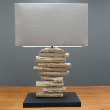Wood Table Lamp Made From Tree Branches With Taupe Fabric Shade