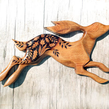 Carved Hare Wall Hanging, Pyrography, Wood burning, Wood Carving, rabbit Wall art, wood carving, rabbit art, moon gazing hare, pagan gift
