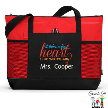 Personalized Teacher Tote Zippered EmbroideredTote Bag with Mesh Pockets, Beach Bag