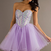 Short A-Line Strapless Sweetheart Tulle Dress