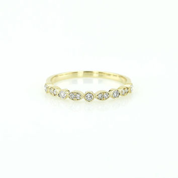 Unique Diamond Wedding Band / 14k Round and Marquise Diamond Wedding Band / Anniversary Gift