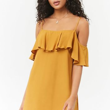 Open-Shoulder Flounce Dress