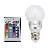 HDE Multi-Setting Remote Controlled 16 Color Changing E27 3W RGB LED Lamp Light Bulb