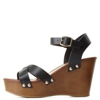 Black Crisscross Wooden Platform Wedges by Charlotte Russe