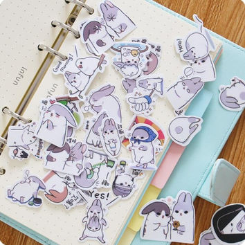 40 pcs pack Cute Chunky Rabbit Label Stickers Set Decorative Stationery Stickers Scrapbooking DIY Diary Album Stick Lable