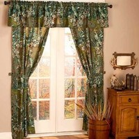 The Woods® 5-Pc.Green Camouflage Window Curtain Set Bedroom Cabin Home Decor