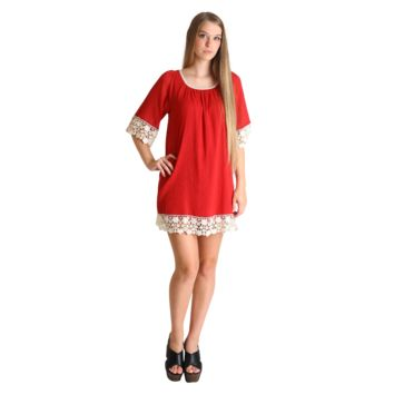 Umgee Red Cheyenne Lace Tunic Dress