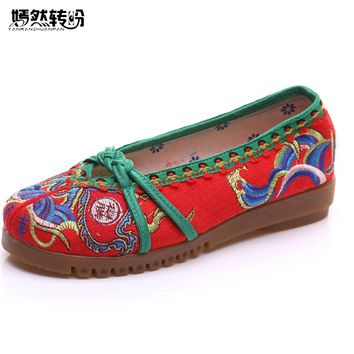 Vintage Embroidered Women Flats Casual Fabric Cloth Ballet Shoes Chinese Slip on Canvas Platforms Zapatos Mujer Shoes Woman