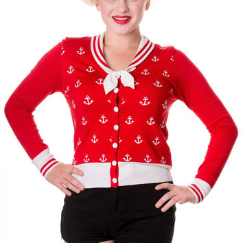 Sailor Pin up Nautical Knit Anchor logo & White Bow two tone Cardigan