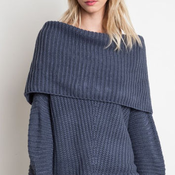 Freebird Ribbed Sweater - Slate
