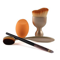 4 PCS Makeup Foundation Brush Set Eyeshadow Oval Toothbrush Contour Sponge