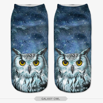 Harajuku Style Print 3D Sock Lovely Owl Time-limited Ruched Polyester Contrast Color Meias Women Socks Casual Cute Character