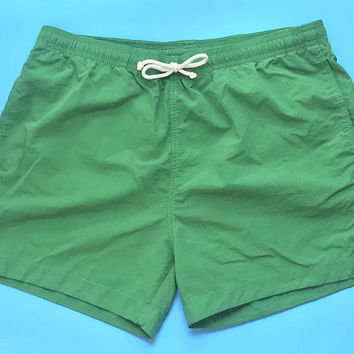 Mens Vintage Kelly Green Swim Trunks / Monochrome Solid Colorblock Swim Shorts / Trendy Short Mens Swimwear / Sporty Althetic Shorts for Men