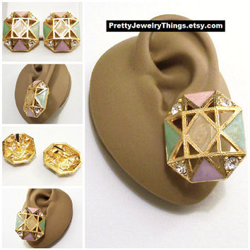 Avon Pink Green Yellow Square Clip On Earrings Gold Tone Vintage Geometric Marble Enamel Brushed Open Ribs Diamond Pyramid Crystal Button