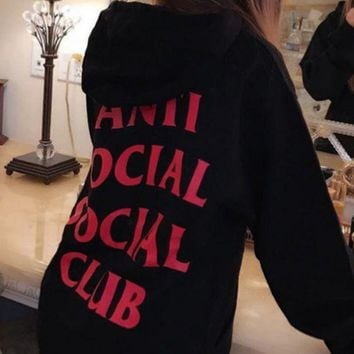 VONEYW7 anti social social club chest flag men and women sweater jacket