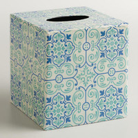 Blue Turquoise Tile Tissue Box Cover