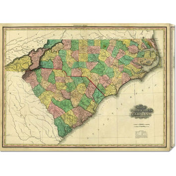 Global Gallery GCS29534130142 Map of North & South Carolina, 1823 by Henry S. Tanner: 30 x 22.62 Canvas Giclees, Wall Art