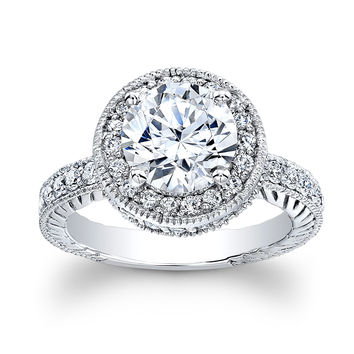 Ladies 14kt white gold antique engagement ring with 2ct natural Round Brilliant White Sapphire Center and 0.70 ctw G-VS2 diamonds