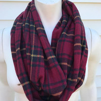 Women's-Handmade-Thanksgiving-Fall-Winter-Chunky-Wool-Flannel-Plaid-Infinity Scarf-Gifts for her-Accessories