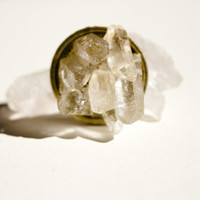 Raw Crystal Ring Quartz Crystal Points Cave Ring on Adjustable Brass Base