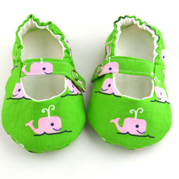 Preppy Baby Girl Shoes, Pink and Green Whale Baby Mary Jane Shoes with Ivory Lining, Toddler Mary Janes, Baby Ballet Flats
