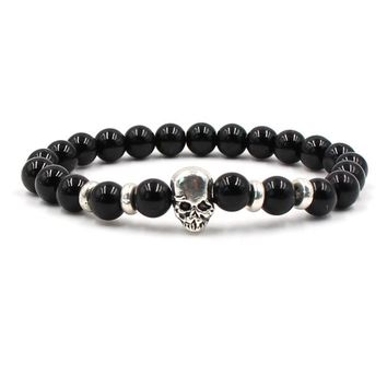 Hot Sale Gift Great Deal Shiny Awesome Stylish New Arrival Skull Turquoise Men Ladies Stretch Bracelet [276346568733]