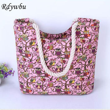 Rdywbu TREE OWL PRINTED CANVAS CORD -Female's Casual Animal Print Travel Shoulder Bag Rope Big Shopping Beach Handbag B64006