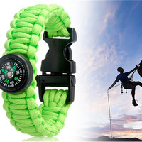 Durable Outdoor Survival Wrist Strap Bracelet with Compass (Green)