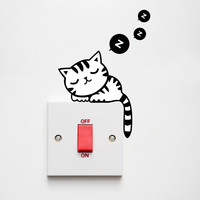 Cartoon Removable Cute Lovely Black Cat sleep Socket Switch Wall Sticker Vinyl Decal Home Decor Decal