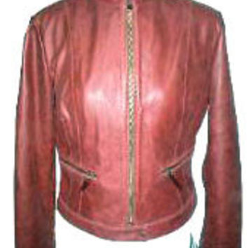 Ladies Red Vintage Leather Jacket by Livid